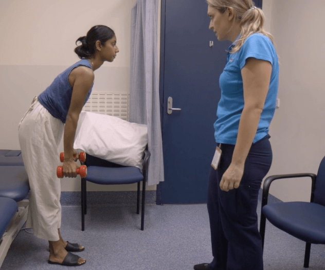 female patient lifting weights in a doctors surgery Laundry lane productions video production company Sydney